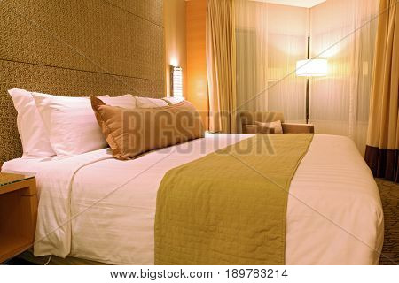 luxury master bedroom with pillow set