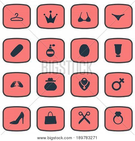 Vector Illustration Set Of Simple Elegance Icons. Elements Fragrance, Brasserie, Elegant Footwear And Other Synonyms Female, Bottle And Marriage.