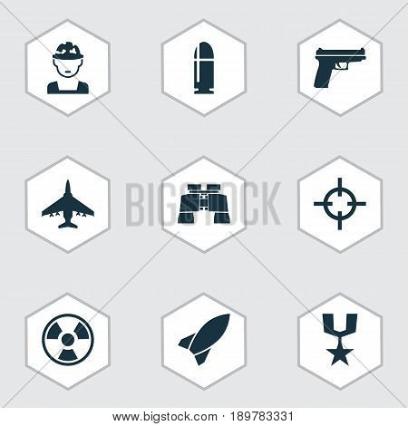 Combat Icons Set. Collection Of Missile, Slug, Aircraft And Other Elements. Also Includes Symbols Such As Danger, Target, Zoom.