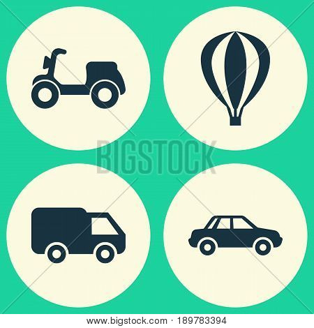 Transportation Icons Set. Collection Of Automobile, Airship, Truck And Other Elements. Also Includes Symbols Such As Camion, Moped, Balloon.