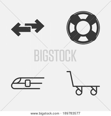Transportation Icons Set. Collection Of Cargo Cart, Navigation Arrows, Metro And Other Elements. Also Includes Symbols Such As Sea, Lifebuoy, Railway.