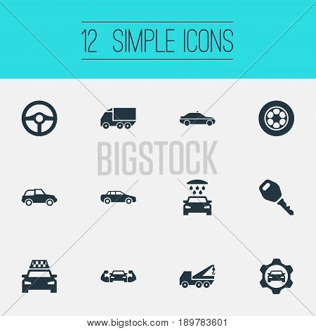 Vector Illustration Set Of Simple Automobile Icons. Elements Faucet, Steering Wheel, Charging And Other Synonyms Key, Repair And Motor.