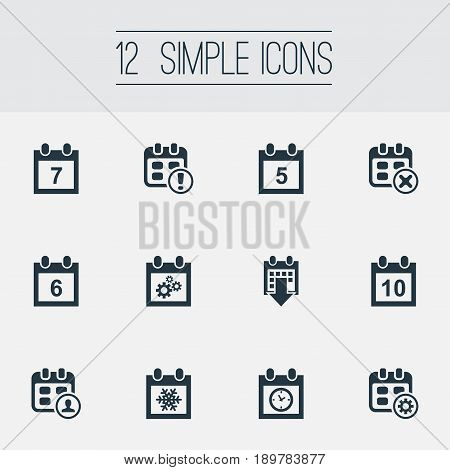 Vector Illustration Set Of Simple Date Icons. Elements History, Organizer, Ten And Other Synonyms Repair, Wheel And Planner.