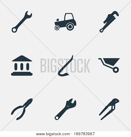 Vector Illustration Set Of Simple Build Icons. Elements Wrench, Nippers, Academy And Other Synonyms Spanner, Tractor And Museum.
