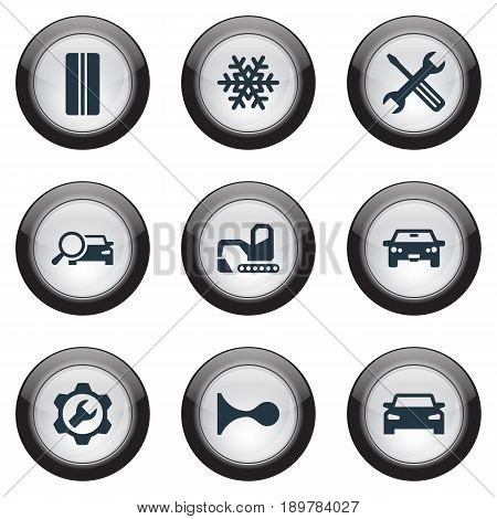 Vector Illustration Set Of Simple Vehicle Icons. Elements Siren, Digger, Search And Other Synonyms Wheel, Workshop And Tools.