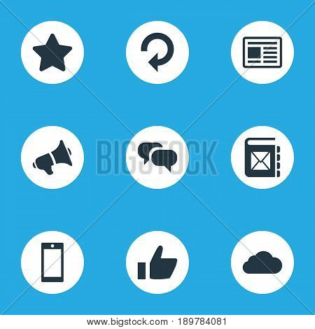 Vector Illustration Set Of Simple Transmission Icons. Elements Press, Thumb, Smartphone And Other Synonyms Cloud, Success And Server.