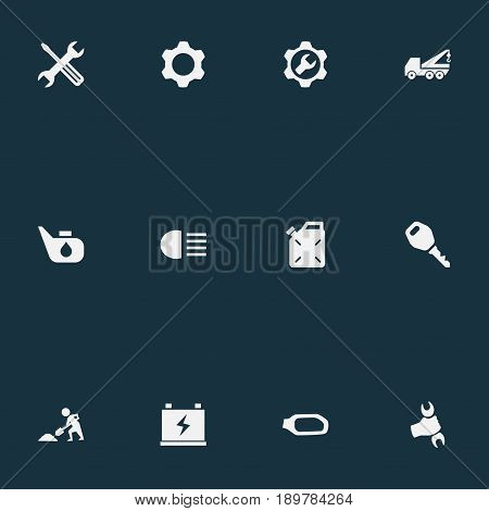 Vector Illustration Set Of Simple Auto Icons. Elements Grease, Wrench, Instrument And Other Synonyms Mirror, Hand And Hoisting.