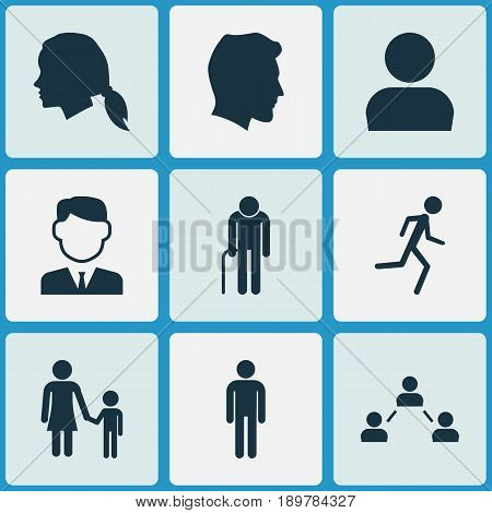 Human Icons Set. Collection Of Family, Gentleman, Gentlewoman Head And Other Elements. Also Includes Symbols Such As Businessman, Profile, Head.