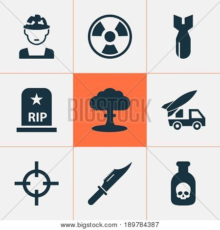 Army Icons Set. Collection Of Military, Ordnance, Dangerous And Other Elements. Also Includes Symbols Such As Atom, Tomb, Rockets.