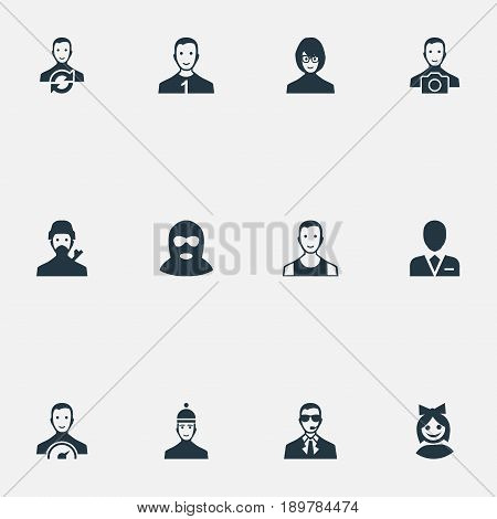 Vector Illustration Set Of Simple Member Icons. Elements Software Developer, Paparazzi, Sprinter And Other Synonyms Preacher, Offender And Mysterious.