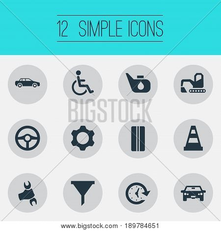 Vector Illustration Set Of Simple Car Icons. Elements Wrench, Filter, Cogwheel And Other Synonyms Automobile, Handicapped And Bulldozer.