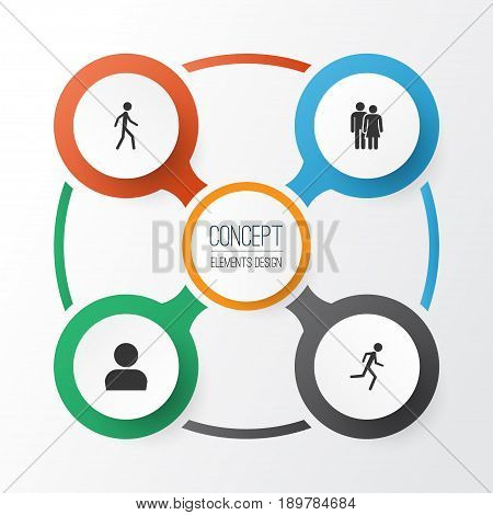 Human Icons Set. Collection Of Beloveds, Running, Jogging And Other Elements. Also Includes Symbols Such As Woman, Avatar, Walking.