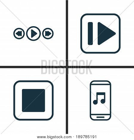 Music Icons Set. Collection Of Following Music, Stop Button, Audio Mobile And Other Elements. Also Includes Symbols Such As Next, Button, Music.