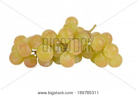 Cluster of green grapes on a white background