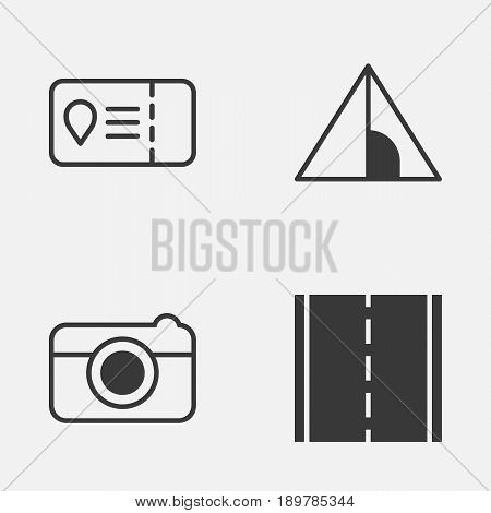 Travel Icons Set. Collection Of Camping House, Photo Camera, Trip Access And Other Elements. Also Includes Symbols Such As House, Access, Road.