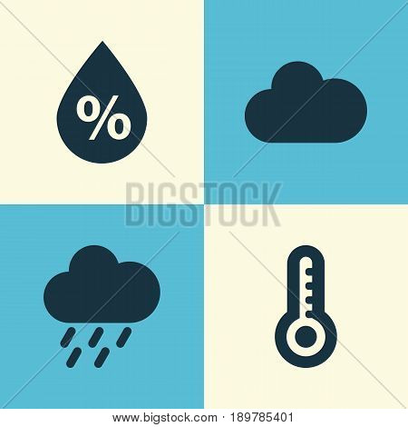 Air Icons Set. Collection Of Douche, Temperature, Cloudy And Other Elements. Also Includes Symbols Such As Thermometer, Rain, Cloudy.