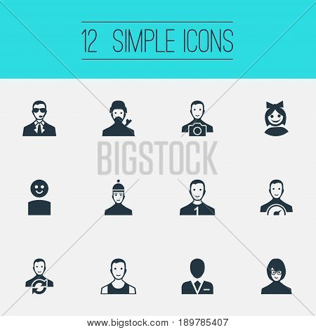 Vector Illustration Set Of Simple Human Icons. Elements Sprinter, Cute, Mysterious Man And Other Synonyms Bodyguard, Preacher And Journalist.