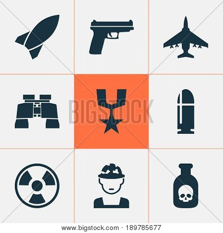 Combat Icons Set. Collection Of Glass, Danger, Slug And Other Elements. Also Includes Symbols Such As Shot, Binoculars, Weapons.
