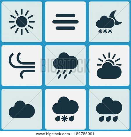 Weather Icons Set. Collection Of Cloudy, Breeze, Night And Other Elements. Also Includes Symbols Such As Cloud, Weather, Wind.