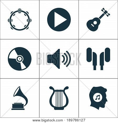 Music Icons Set. Collection Of Phonograph, Meloman, Start And Other Elements. Also Includes Symbols Such As Gramophone, Instrument, Button.
