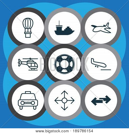 Transport Icons Set. Collection Of Flight Vehicle, Lifebuoy, Navigation Arrows And Other Elements. Also Includes Symbols Such As Sea, Ship, Landing.