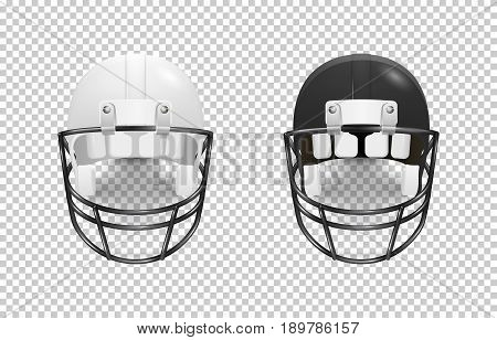 Realistic classic american football helmet set - black and white color. Isolated on transparent background. Front view. Design template closeup in EPS10 vector. Mock-up for branding and advertise.
