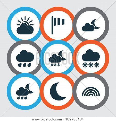 Weather Icons Set. Collection Of Colors, Sun-Cloud, Moon And Other Elements. Also Includes Symbols Such As Vane, Sunlight, Weather.