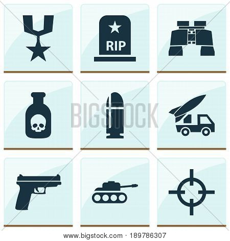Warfare Icons Set. Collection Of Glass, Danger, Weapons And Other Elements. Also Includes Symbols Such As Target, Rip, Bullet.