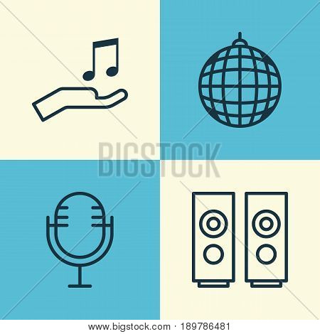Multimedia Icons Set. Collection Of Dance Club, Note Donate, Mike And Other Elements. Also Includes Symbols Such As Party, Sound, Microphone.
