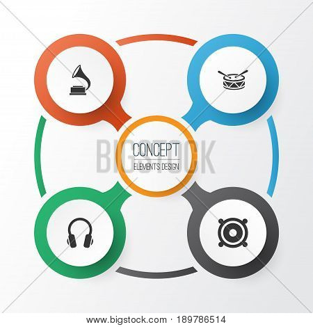 Audio Icons Set. Collection Of Barrel, Phonograph, Megaphone And Other Elements. Also Includes Symbols Such As Loudspeaker, Phonograph, Headphone.