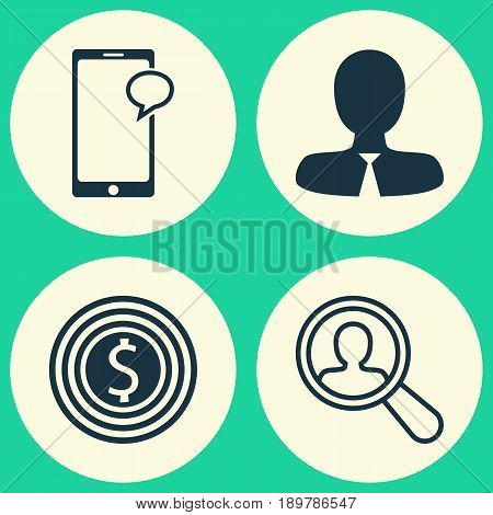 Human Icons Set. Collection Of Business Goal, Messaging, Find Employee And Other Elements. Also Includes Symbols Such As Chat, Success, Search.