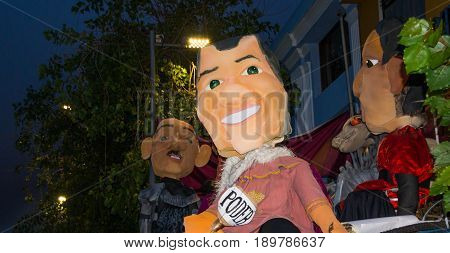 Quito, Ecuador - December 31, 2016: Traditional monigotes or stuffed dummies representing political figures, that will get burned to celebrate new year in Ecuador.