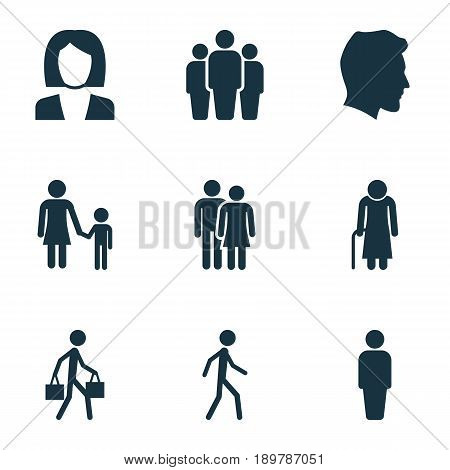 Person Icons Set. Collection Of Jogging, Delivery Person, Beloveds And Other Elements. Also Includes Symbols Such As Couple, Gentleman, Head.