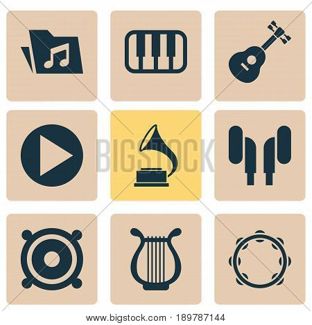 Music Icons Set. Collection Of Megaphone, Start, Phonograph And Other Elements. Also Includes Symbols Such As Keyboard, Lyre, Timbrel.