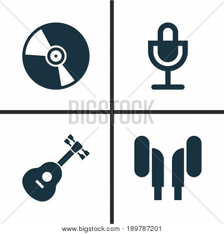 Multimedia Icons Set. Collection Of Cd, Mike, Instrument And Other Elements. Also Includes Symbols Such As Turntable, Instrument, Headset.