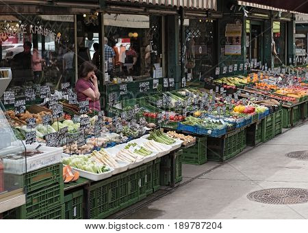 VIENNA, AUSTRIA-JUNE 01, 2017: Fruit and vegetables at the Viennese Naschmarkt