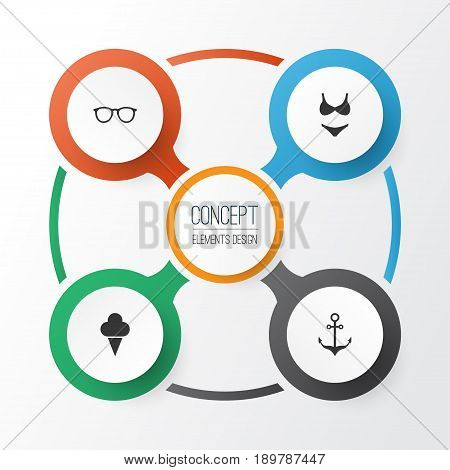 Sun Icons Set. Collection Of Bikini, Sorbet, Spectacles And Other Elements. Also Includes Symbols Such As Sunshades, Suit, Ship.