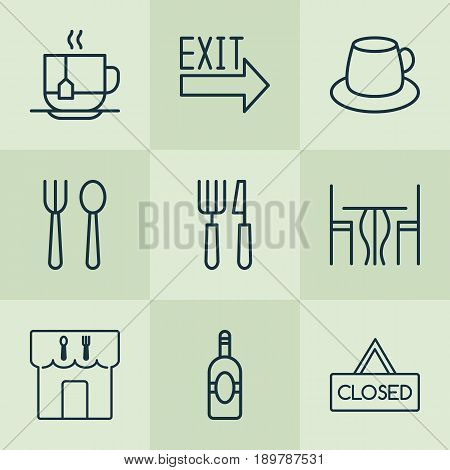 Restaurant Icons Set. Collection Of Doorway, Hot Drink, Hooch And Other Elements. Also Includes Symbols Such As Hot, Hooch, Table.