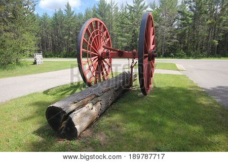 Michigan logging wheels used to pull logs out of the forest