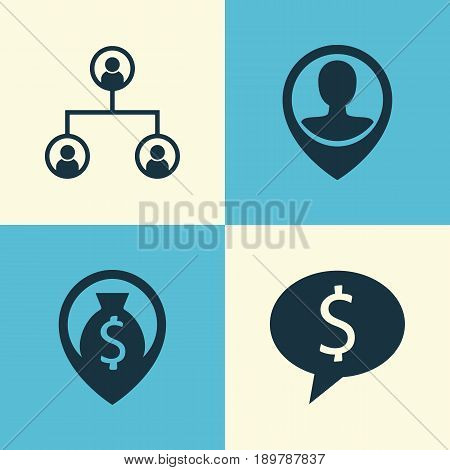 Management Icons Set. Collection Of Business Deal, Money Navigation, Tree Structure And Other Elements. Also Includes Symbols Such As Organisation, Male, Discussion.