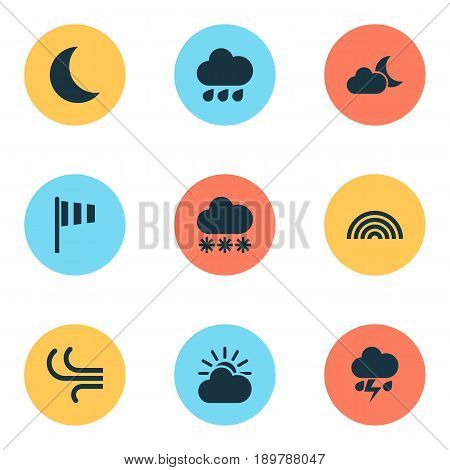 Weather Icons Set. Collection Of Colors, Moon, Flash And Other Elements. Also Includes Symbols Such As Moon, Moonlight, Flag.