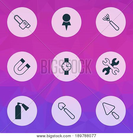 Tools Icons Set. Collection Of Putty, Firefighter, Attraction And Other Elements. Also Includes Symbols Such As Pitchfork, Trowel, Harrow.