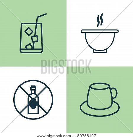 Restaurant Icons Set. Collection Of Coffee Cup, Bowl, No Drinking And Other Elements. Also Includes Symbols Such As Juice, Bowl, Soup.
