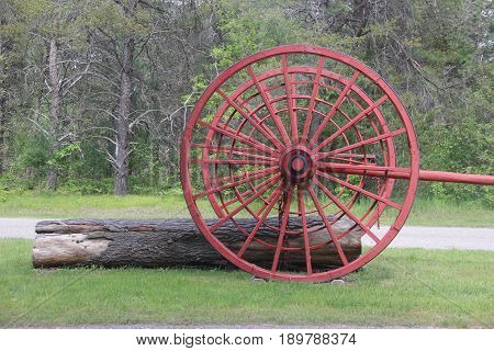 Michigan logging wheels used to pull logs through the woods