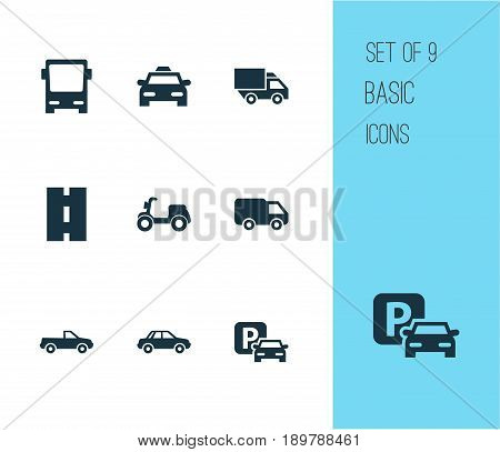 Shipment Icons Set. Collection Of Omnibus, Skooter, Truck And Other Elements. Also Includes Symbols Such As Cabriolet, Pickup, Autobus.