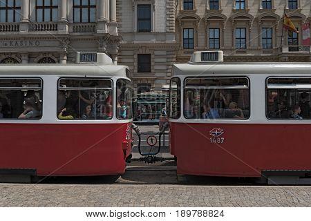 VIENNA, AUSTRIA-JUNE 01, 2017: Old crowded tram on the street of vienna