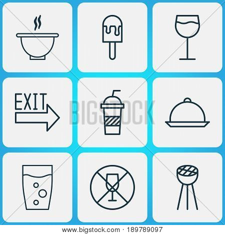 Restaurant Icons Set. Collection Of Dining, Grill, Wineglass And Other Elements. Also Includes Symbols Such As Soda, Glass, Beverage.
