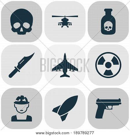 Battle Icons Set. Collection Of Cutter, Weapons, Chopper And Other Elements. Also Includes Symbols Such As Hazard, Fatal, Rocket.