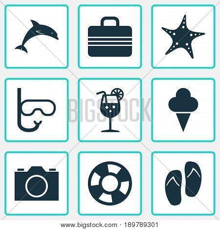 Season Icons Set. Collection Of Dinghy, Lemonade, Video And Other Elements. Also Includes Symbols Such As Valise, Fish, Juice.