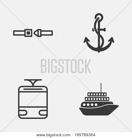 Transportation Icons Set. Collection Of Anchor, Streetcar, Cruise And Other Elements. Also Includes Symbols Such As Yacht, Cruise, Anchor.